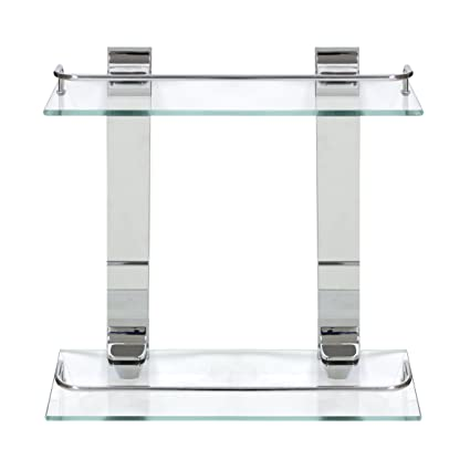 MODONA Double Glass Wall Shelf with Rail - Polished Chrome - 5 Year ...
