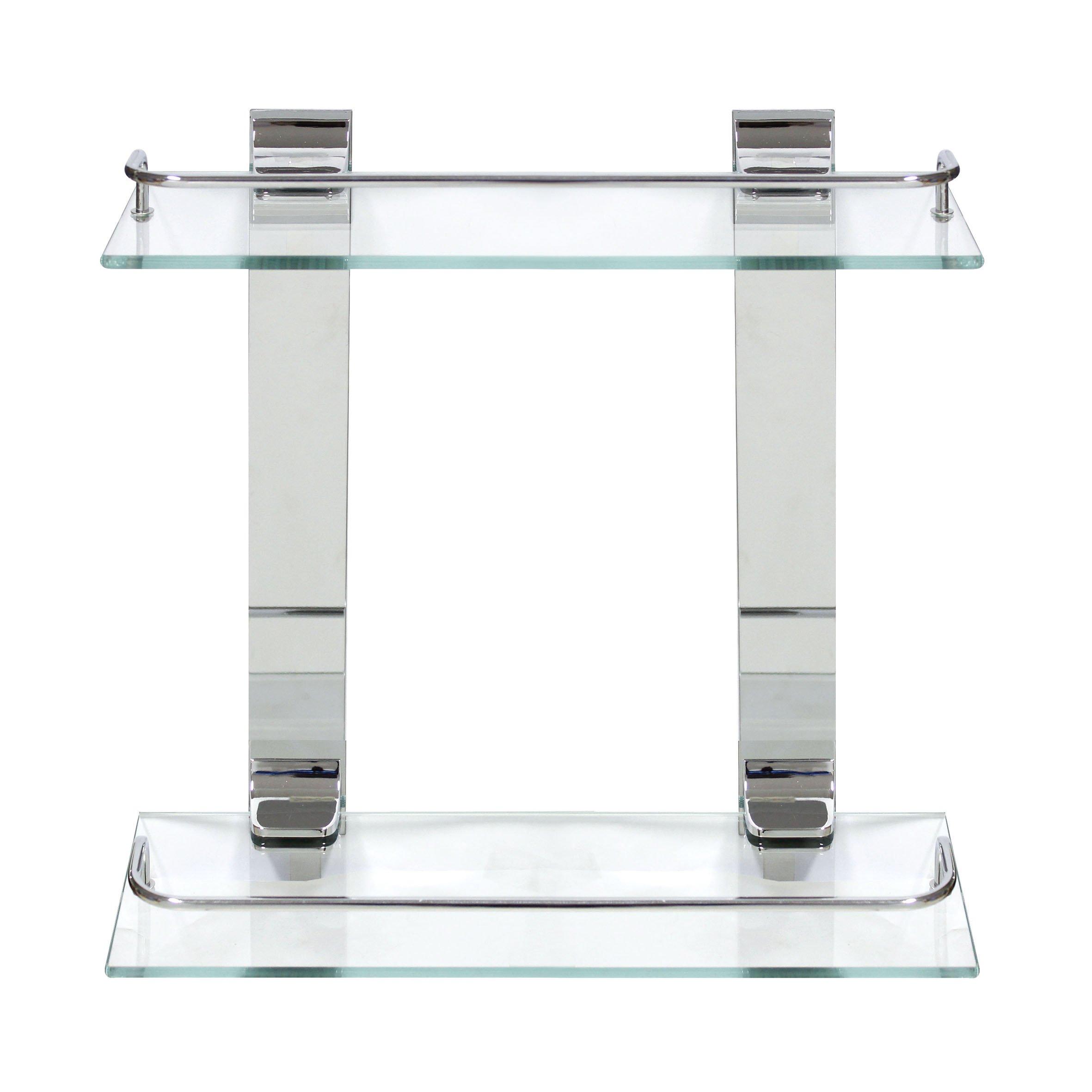 MODONA Double Glass Wall Shelf with Rail - Polished Chrome - 5 Year Warrantee