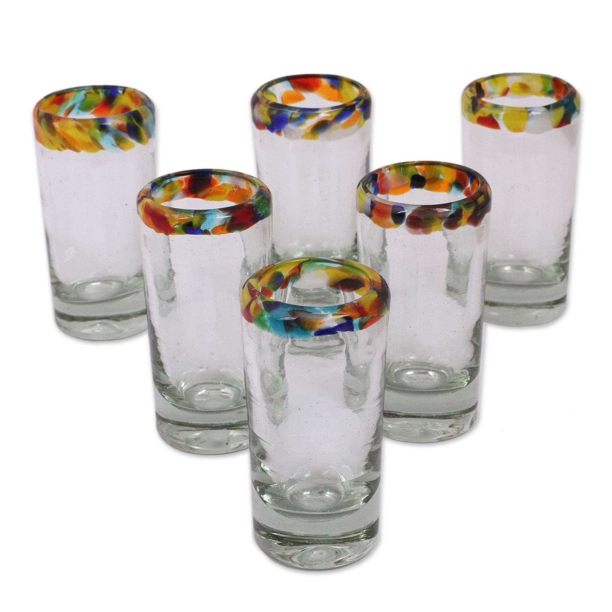 NOVICA 228620 ' 'Confetti' Blown Tequila Shot Glasses Set of 6, 3.5''Tall, Multicolored