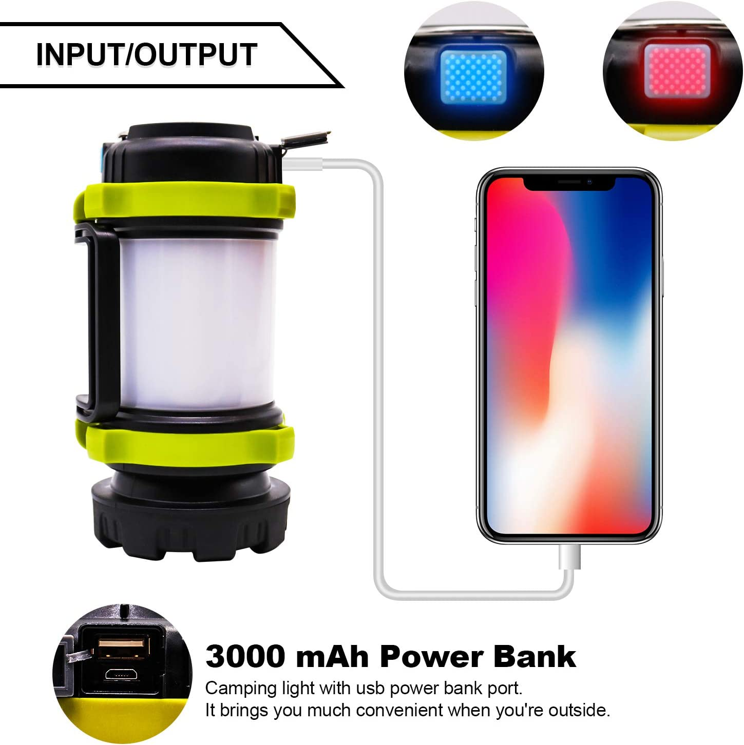 4 Light Modes 3000mAh Power Bank Camping Perfect Camping Lantern for Hiking IPX4 Waterproof 600 Lumens Ultra Bright COVMAX LED Rechargeable Camping Lantern