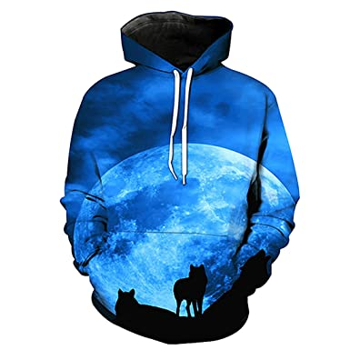 HDH Fashion 3D Hoodies Wolf Hoodie Pullover Graphic Sweatshirts Hooded With  Big Pockets and Fleece Plush 5479ef404