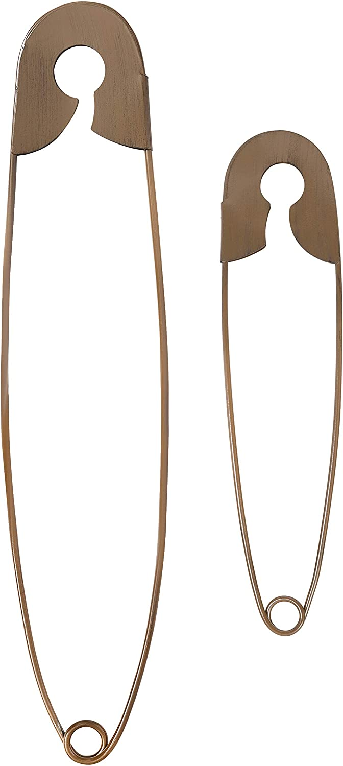 Set of 2 Large Rustic Metal Safety Pins – Ideal Home, Office, Laundry & Washing Room Hanging Wall Decoration