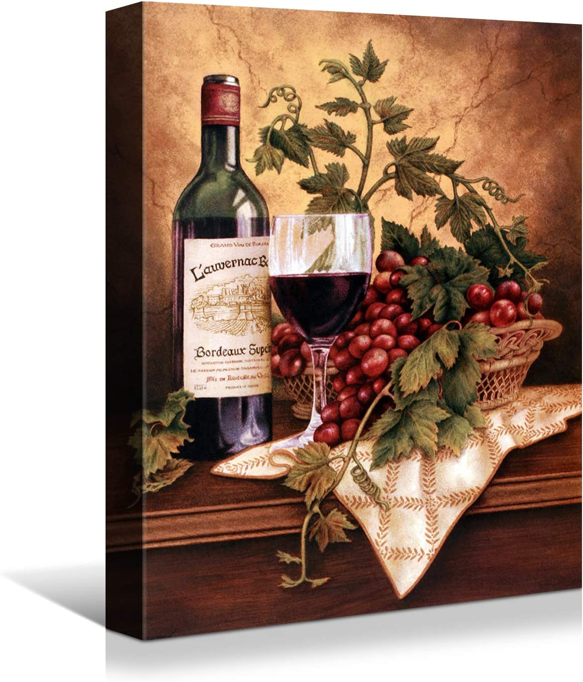 Looife Kitchen Wine Bottle Canvas Wall Art, 20x30 Inch Vintage Red Wine Glass Cup with Grapes Picture Prints Wall Decor, Modern Art Deco for Dining Room and Bar Wall Decoration