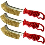Italian Brass Coated Wire Spid Brush Rust Removal Cleaning Hand Brush 6 Pack