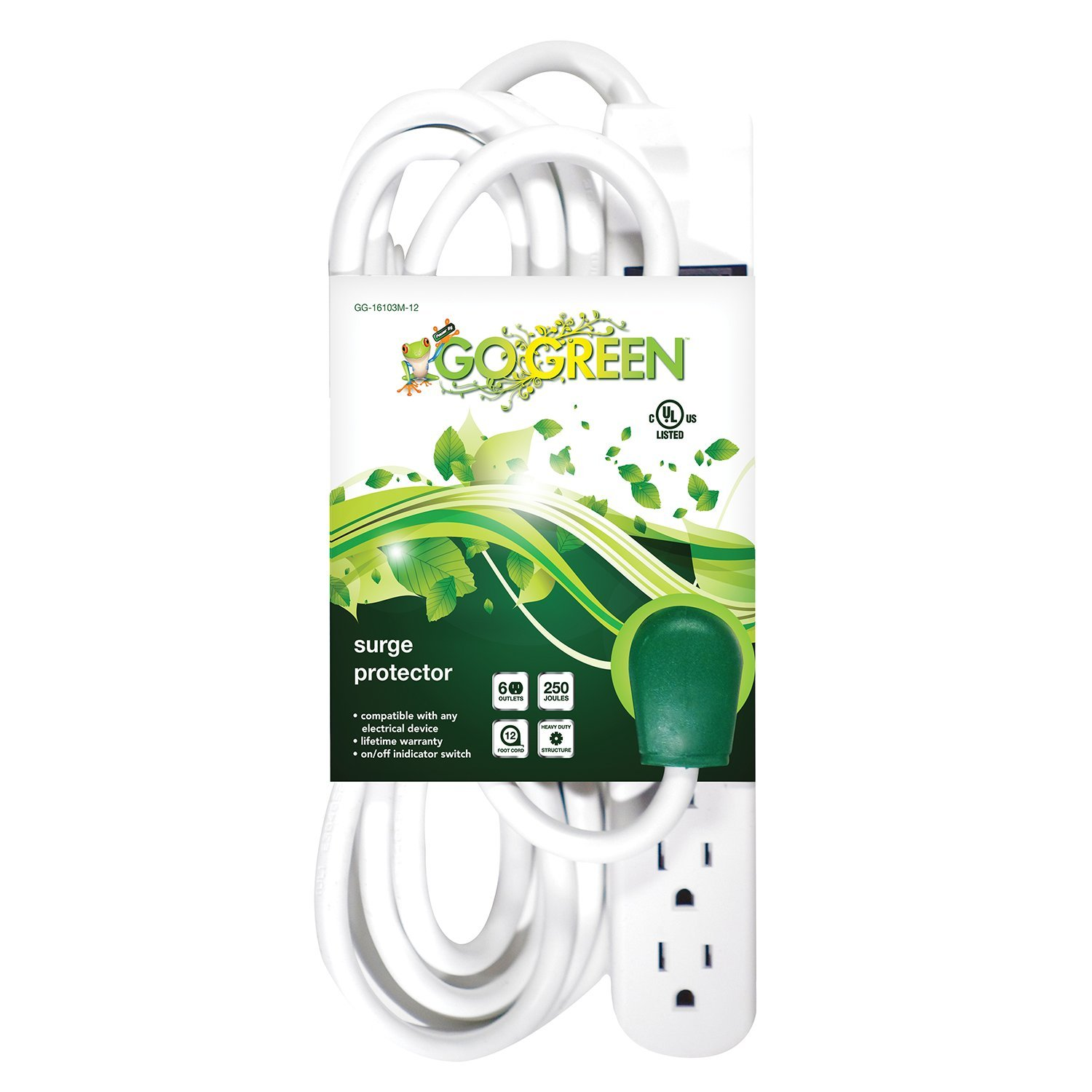 Gogreen Power Gg 16103m 12 6 Outlet Surge Protector Amplifier Using Tda2009a Watt 15x2 Audio With 12ft Cord Home Improvement