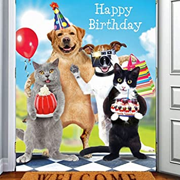 Cats Dogs Happy Birthday Card