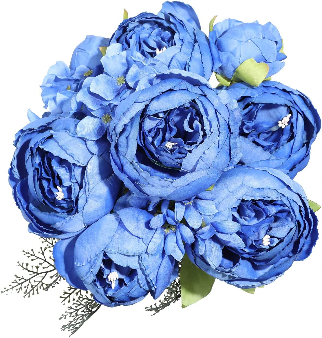 Luyue Vintage Artificial Peony Silk Flowers Bouquet Home Wedding Decoration (Navy Blue)