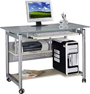 scrivania oem per pc compatta in metallo e vetro con ruote: amazon ... - Scrivania Con Computer