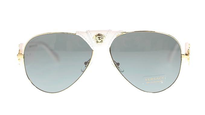 ea87f36ad698 Image Unavailable. Image not available for. Color  Versace Men s Pilot  Sunglasses VE2150Q 134187 Gold white Grey Lens 62MM Authentic