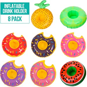 Inflatable Drink Holder, 8 PCS Donuts Fruits Floating Coasters, Swim Drink Floats Coasters, Summer Pool Beverage Boat Cup Holders for Pool Party Supplies