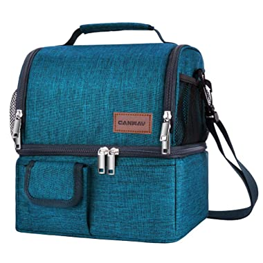 Insulated Lunch Bag, Dual Compartment Lunch Tote Box Leak-proof Bento Organizer,Double Deck Cooler for Men, Women, for Office/Picnic/Travel/Camping (Blue)