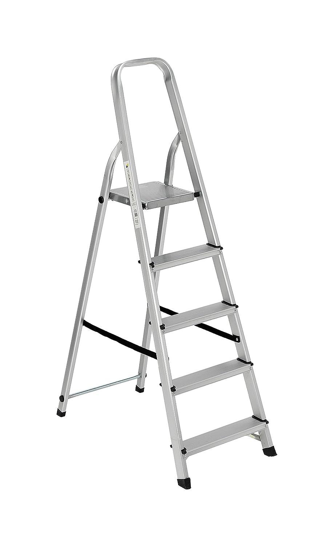 Scala alluminio Everest 5 gradini Per uso domestico e bricolage Portata max 150 kg. Biacchi S1405105