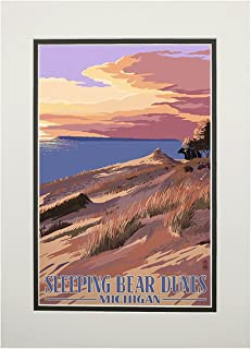 product image for Sleeping Bear Dunes, Michigan - Dunes Sunset and Bear (11x14 Double-Matted Art Print, Wall Decor Ready to Frame)