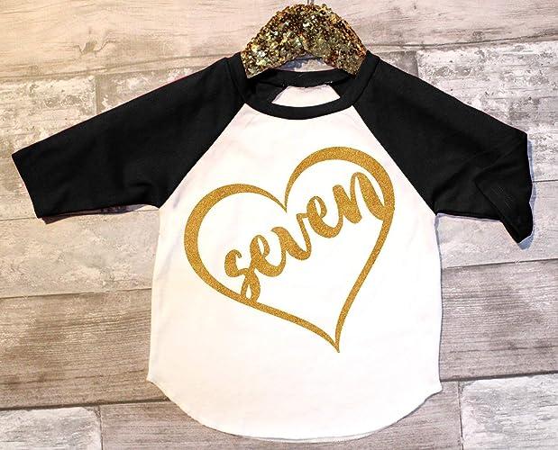 Amazon Girls Seventh Birthday Raglan 7th Outfit Seven Shirt Gold Heart Tee Handmade