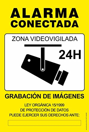Cartel resistente PVC - ZONA VIDEOVIGILADA 24H(amarillo) - Señaletica de aviso - ideal