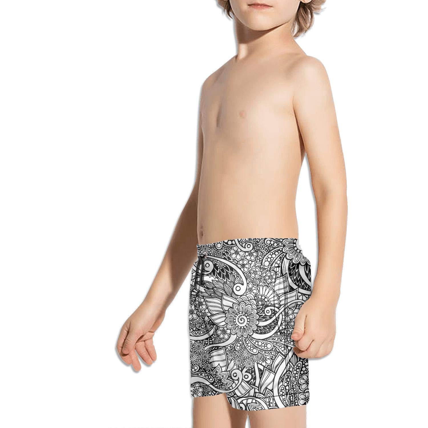 Mehndi Art Hand-Drawn Pattern Black Absorbent Fully Lined Solid Board Swimming Trunks Shorts