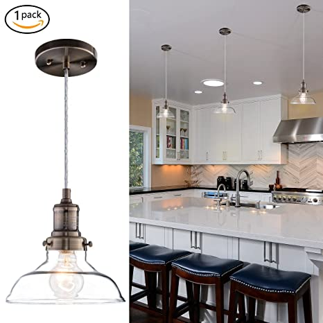 Donglaimei Mini Vintage Clear Glass Pendant Light Edison Industrial Design Hanging Fixture Lights Single