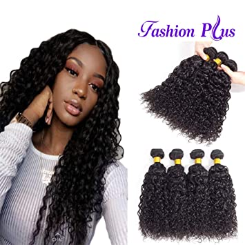 Fashion Plus 10a Brazilian Curly Hair Weave 4 Bundles 20 22 24 26 Inch Brazilian Virgin Kinky