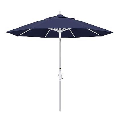 Ordinaire California Umbrella 9u0027 Round Aluminum Market Umbrella, Crank Lift, Collar  Tilt, White