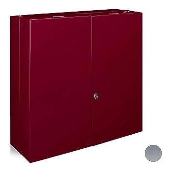 Relaxdays Armario, Acero Inoxidable, Rojo, 19.5x52.5x53 cm ...