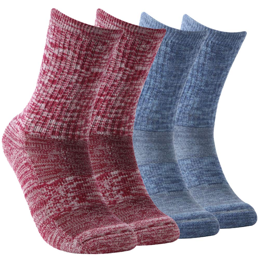 Vive Bears Women's Hiking Socks,Extra-fine Merino Wool Socks Mid Calf Breathable Mesh Athletic Outdoor Crew Socks Moisture-wicking Running Socks with Arch Support Pack of 4,MiX Color by Vive Bears