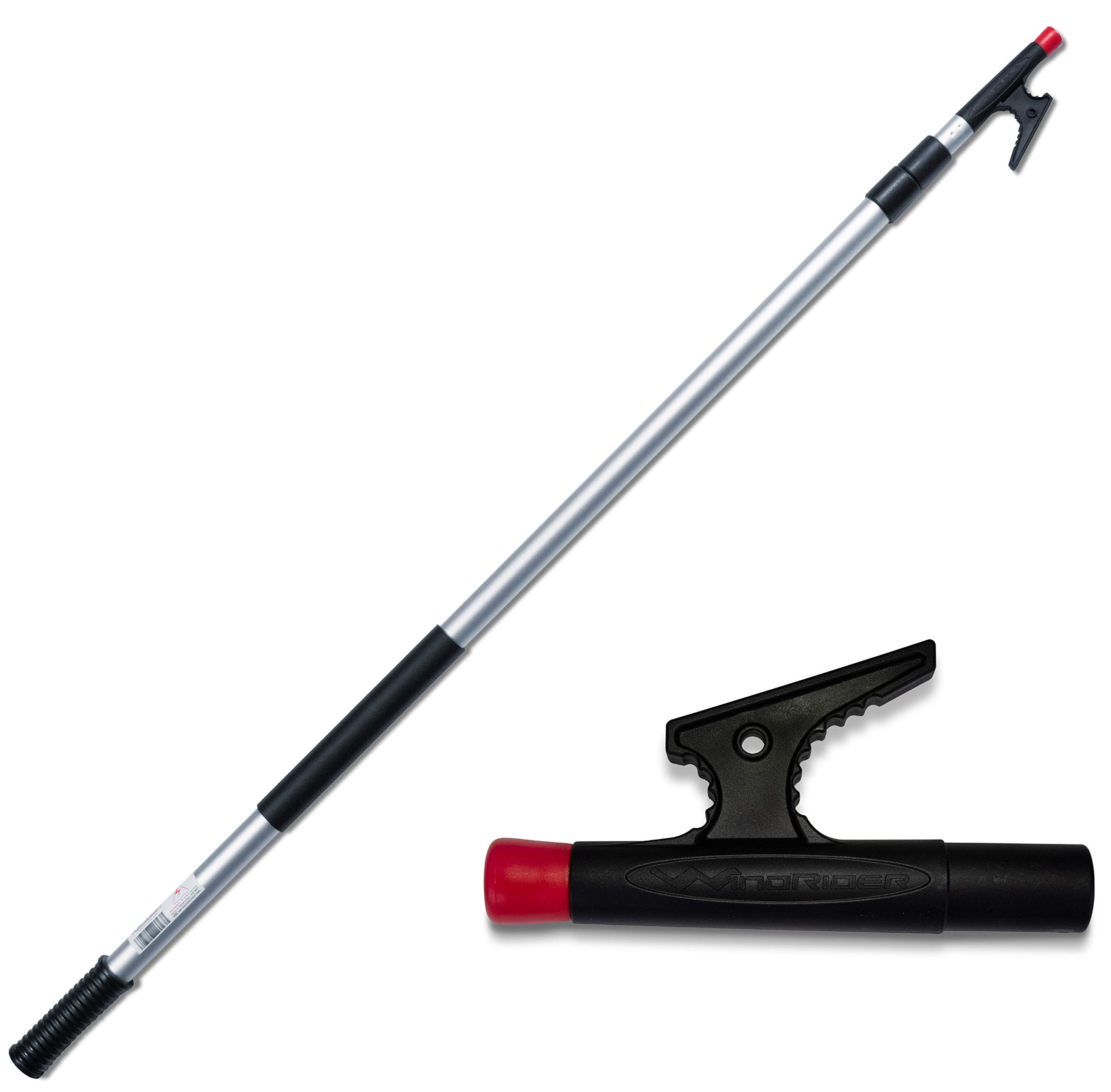 WindRider Telescoping Boat Hook | Floats | Double Grip | 4.5-12ft | Super Strong Hook | Threaded End for Accessories by WindRider