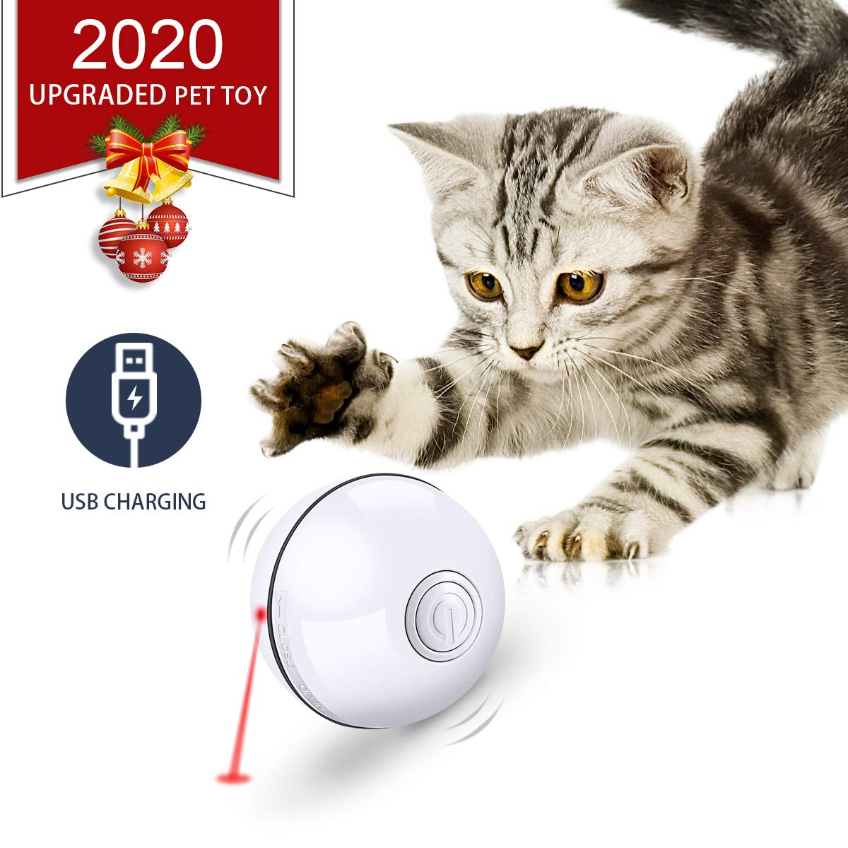 Feeko Cat Toys Interactive Smart Automatic Rolling Kitten Toys USB Rechargeable LED Light Electronic Cat Toy Ball Cat…