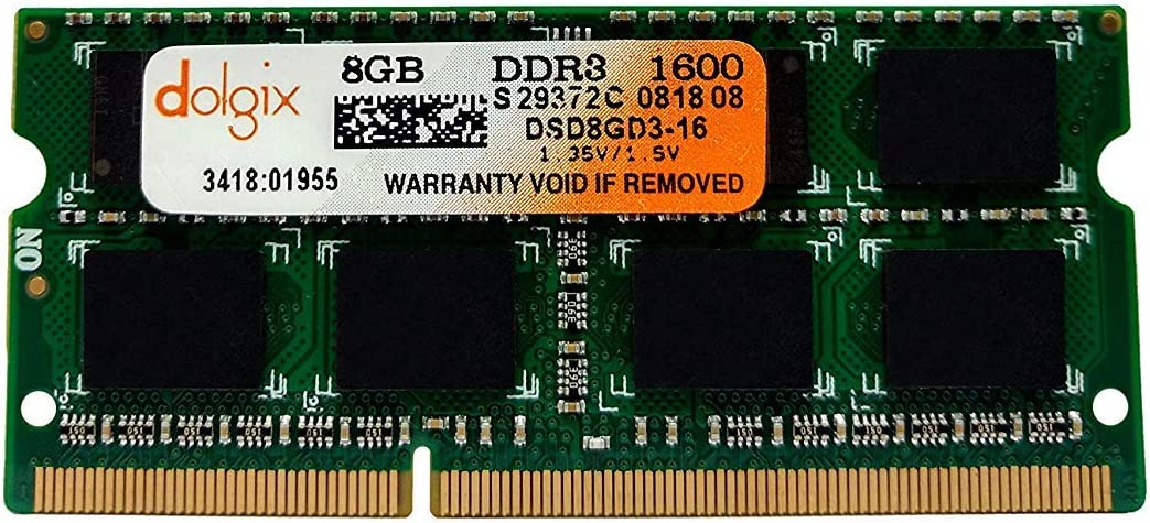 DOLGIX 8GB DDR3 1600MHz SODIMM PC3-12800 2Rx8 Dual Rank 1.35V 204-Pin Notebook Laptop RAM Memory Module Upgrade