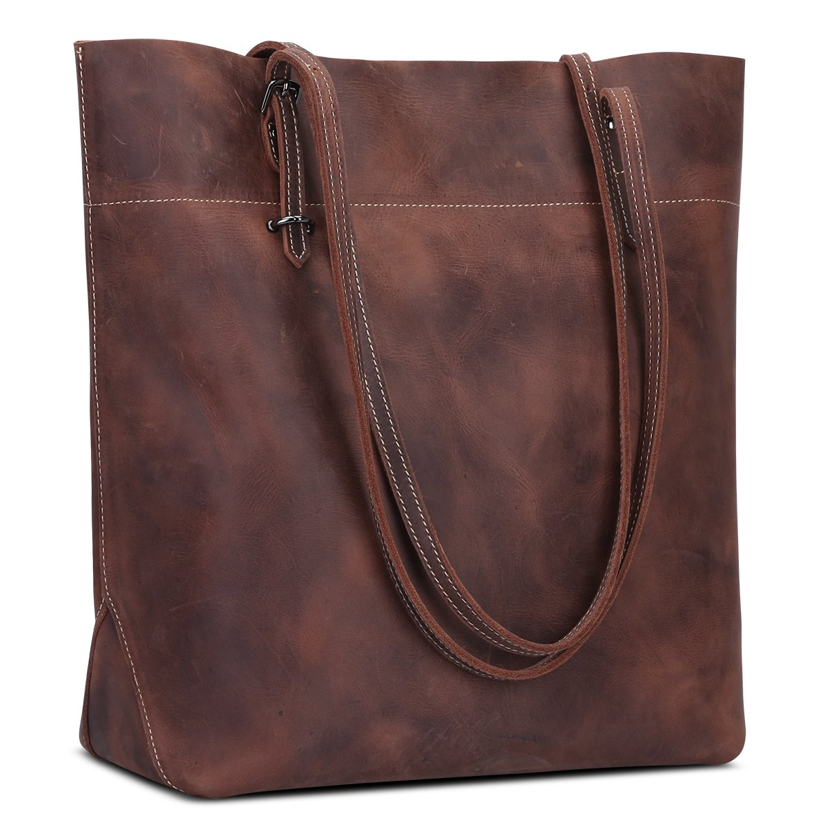 S-ZONE Women's Vintage Crazy Horse Leather Work Tote Shoulder Bag Large Capacity