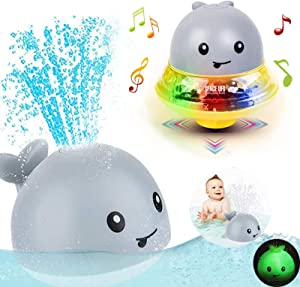 Bath Toys for 1 2 3 4 5 years old boys girls ,2 in 1 Electric Induction Whale Water Spray Toy, Bath Fun Toys with Music and Flashing Lights Bathtime Play Ball Bath Toys for Toddlers Kids toys age 1-6