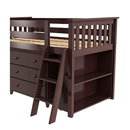 Max U0026 Lily Solid Wood Storage Loft Bed With Dresser And Bookcase, Twin,  Espresso