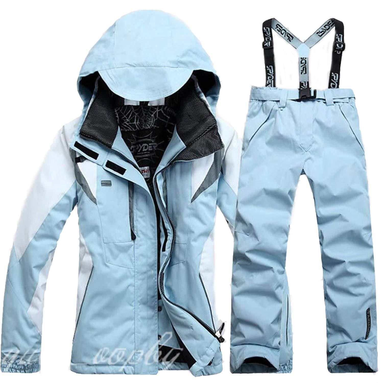 Ceanfly Hosenträger Skihose für Damen + Skianzug Skijacke Winddicht Wasserdicht Atmungsaktiv Wasserabweisende Damenhose Verstellbarer Bund Abnehmbare Träger, Taschen