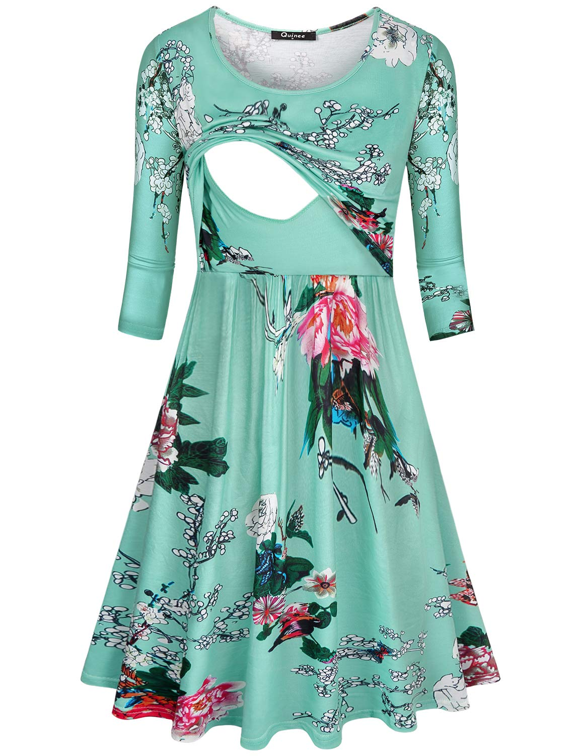 Quinee Nursing Clothes, Women 2XL Plus Size Midi Breastfeeding Dress Scoop Neck Floral Flared Lift Up Double Layered Pregnancy Dress Cozy Maternity Hospital Night Gown Pajamas Leaf Green XXL