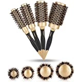 Round Brush, 4 in 1 Instant Heat Styling Brush Anion Anti-static Large Hair brushes for Blow Drying, Curling&Straightening, Volume and Shine