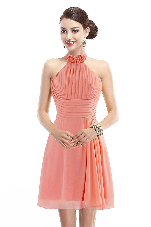Landyagent Elegante Kurz Chiffon Cocktailkleid Ballkleid Brautjunfernkleid Abendkleid 6 Farbe