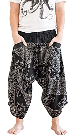 c78abd88c Image Unavailable. Image not available for. Color: BohoHill Ninja Warrior  Samurai Active Harem Pants Unisex Black Japanese Waves