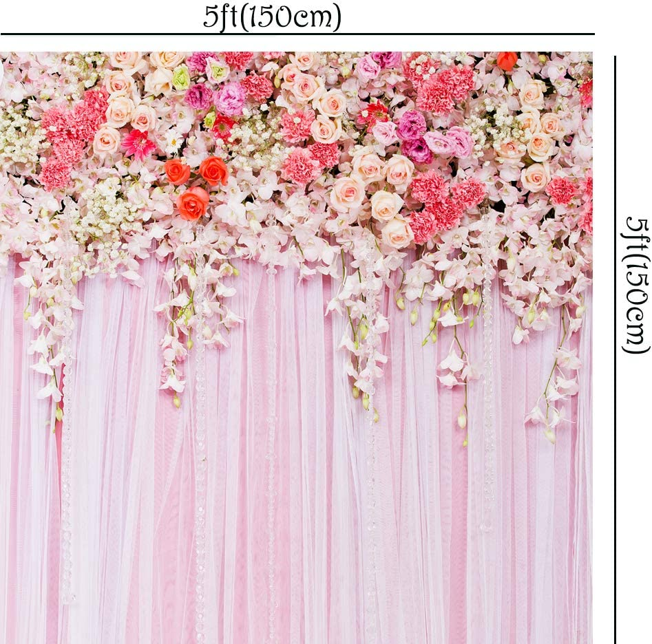 BEIPOTO 5x5ft Newborn Backdrops for Photography Baby Pink Flower Floral Picture Photo Background Studio Props