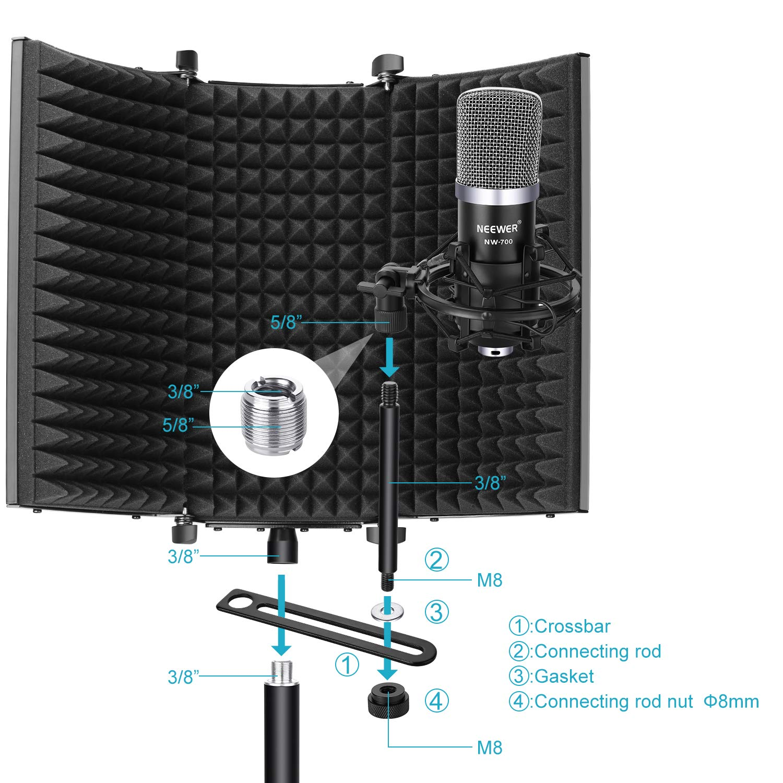 Neewer Escudo Acústico de Aislamiento para Micrófono : Tri-Pliegues Estudio Paneles de Espuma Absorbente de Sonido para Cualquier Micrófono de Condensador ...
