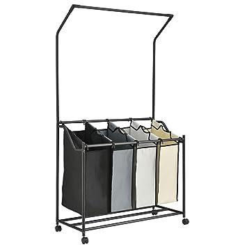 [en.casa] Carrito de lavandería con Barra para Colgar Ropa 160 x 89