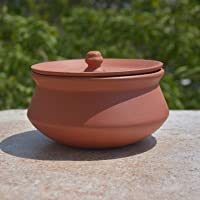 StyleMyWay Handcrafted Clay Cooking/Serving Biryani Handi/Sauce Pot with Lid (0. 5 ltr)