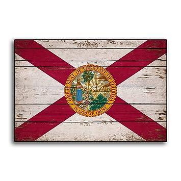 Enid18Bru Flags - Bandera de Madera de Florida con Banderas rústicas de Miami Orlando: Amazon.es: Jardín