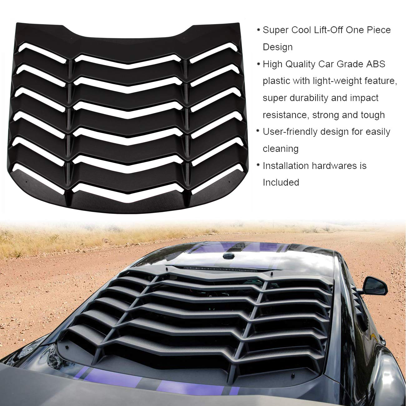 Sunluway Universal Lightweight Rear Spoiler Wing Tail Lid for Chevy Camaro Dodge Charger Challenger Ford Mustang GT Lambo