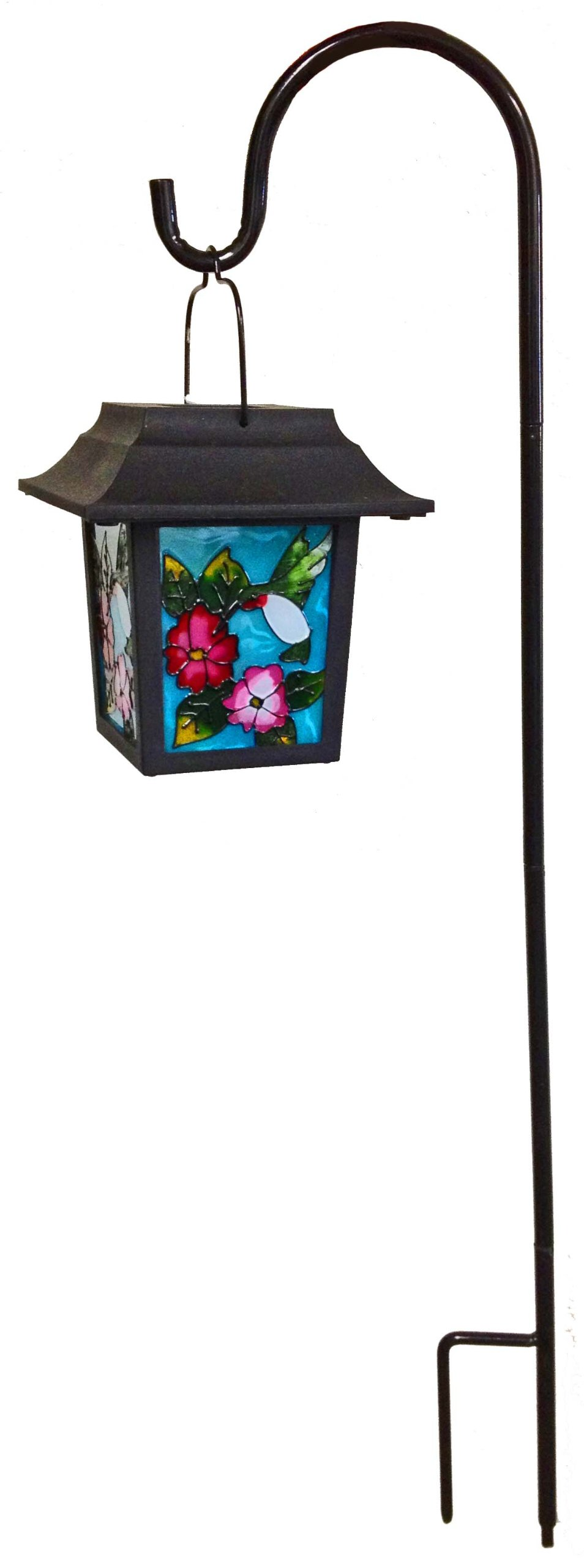 Continental Art Center NS2218C Four Sided Stained Glass Solar Lantern, Hummingbird with Blue Background, 29.5-Inch