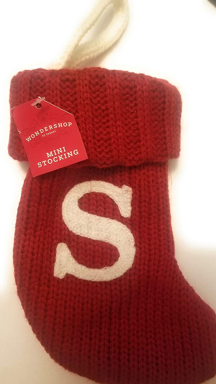 "Wondershop Target Christmas Knit Mini Stocking Monogram Letter S Red Measures 7"""