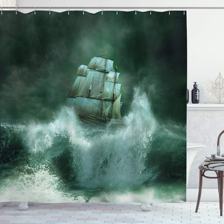 "Ambesonne Pirate Ship Shower Curtain, Old Ship in Thunderstorm Digital Artwork Fantasy Adventure, Cloth Fabric Bathroom Decor Set with Hooks, 75"" Long, Dark Green"