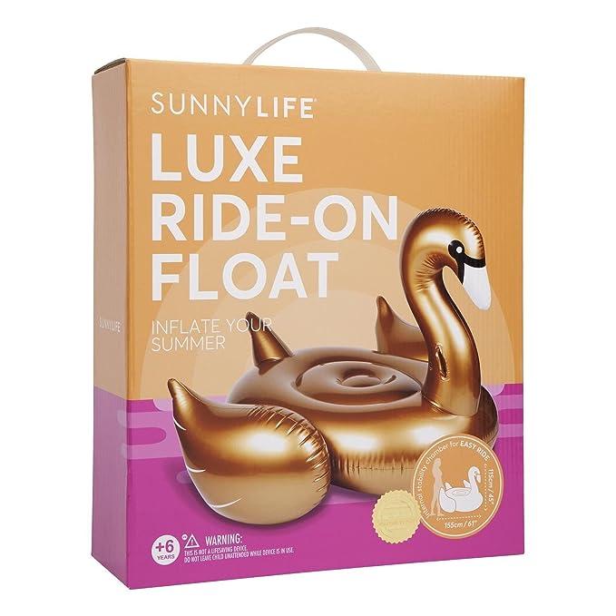 Sunnylife Flotador Dorado para Montar en Cisne: Amazon.es: Juguetes y juegos
