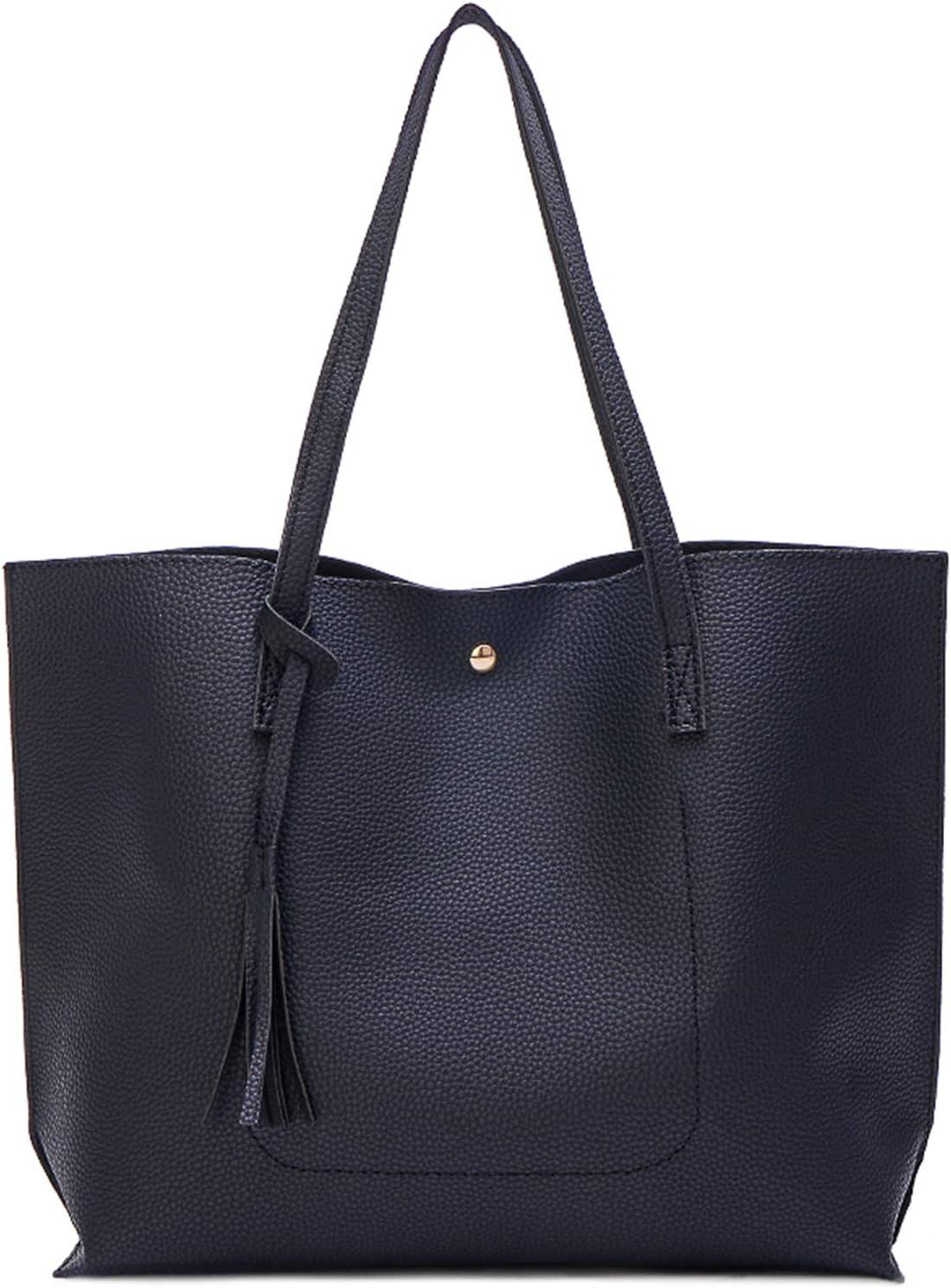 Myhozee Bolso de Mujer Hombro Grande Bolso Bandolera Bolsos de Mujer de Cuero Suave de PU Cuero para Las Damas Shopper Impermeable Bolso Señora Tote Bag Bolso Mano Shopping Bags(Negro)