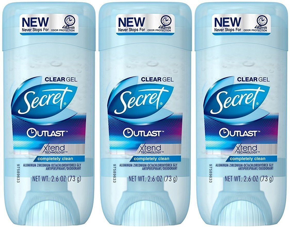 Secret Outlast Antiperspirant and Deodorant Clear Gel, Completely Clean - 2.6 Oz Each, Pack of 3 by Secret
