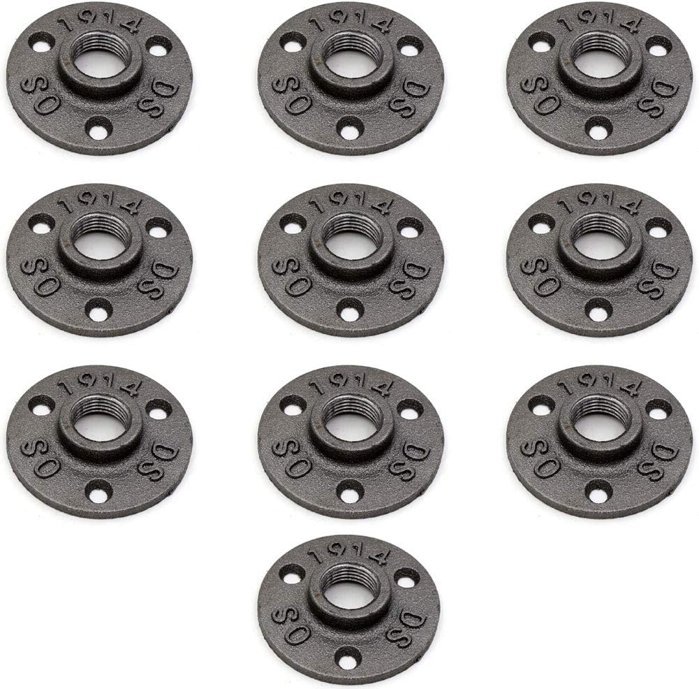 """Floor Flange,CEKER 1/2"""" Malleable Cast Iron Pipe Flange Wall Pipe Fittings,  DIY Industrial Pipe Furniture Plumbing Flanges  Perfect for Shelving Steampunk Furniture 10Packs"""