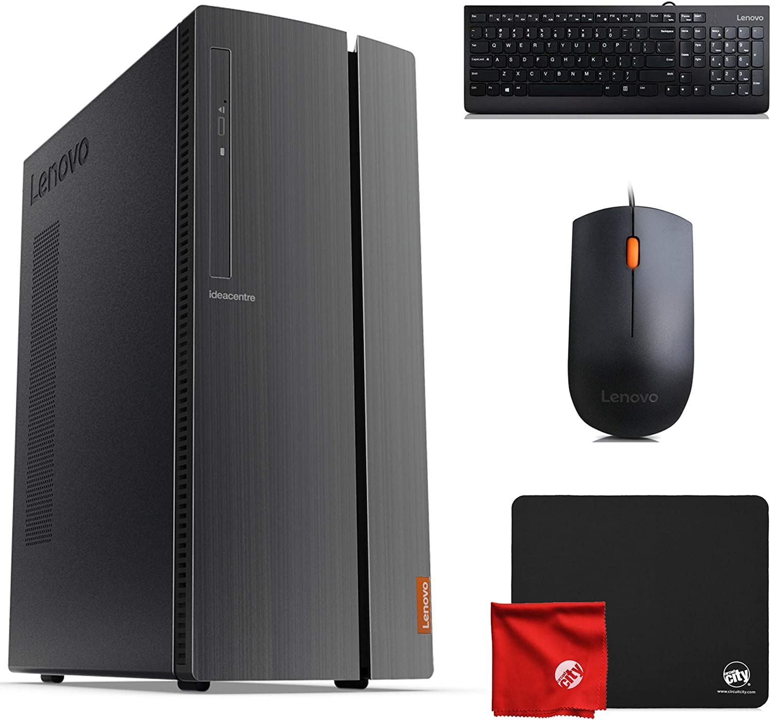 Lenovo 510A Desktop (AMD Ryzen 3 3200G 3.6GHz, 8GB RAM, Windows 10 Pro 64-Bit, 256GB SSD, DVD-RW, Radeon Vega 8) Computer Bundle with Mouse Pad